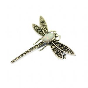 Marcasite  Dragonfly Brooch with Opal, on Sterling Silver
